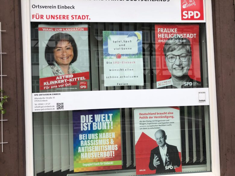 Wahlplakate der SPD in Einbeck